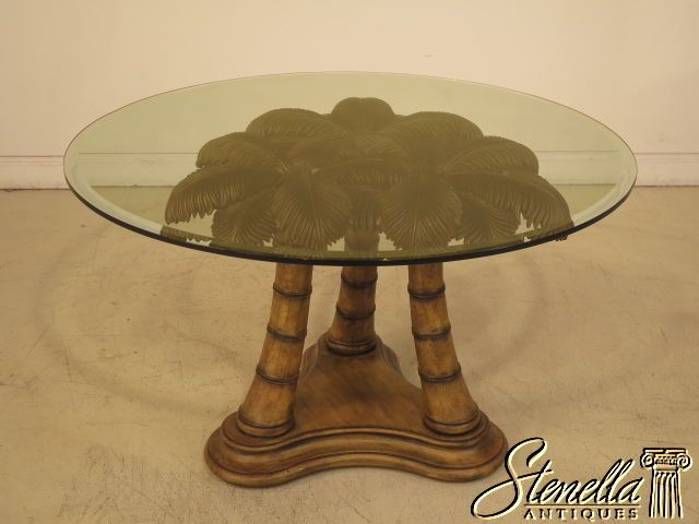 39354: round glass top palm tree base dining room table | glass