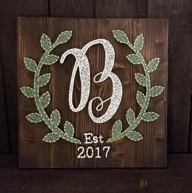 String Art Monogram / Bridal Shower Gift / Wedding Gfit / Personalized Gift / Custom Christmas Gift / Newlywed Gift