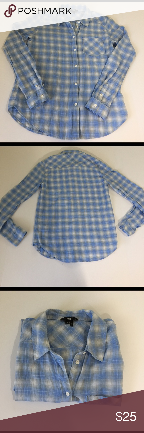 "Paige Plaid button Down Shirt, size XS NWOT Paige Plaid Button Down Shirt in size XS, NWOT. Colors are cornflower blue, grey, and white. Measures flat 24"" from shoulder to hem, and 18"" from armpit to armpit. Made from 100% cotton. Please ask if you have any questions. Paige Jeans Tops Button Down Shirts"