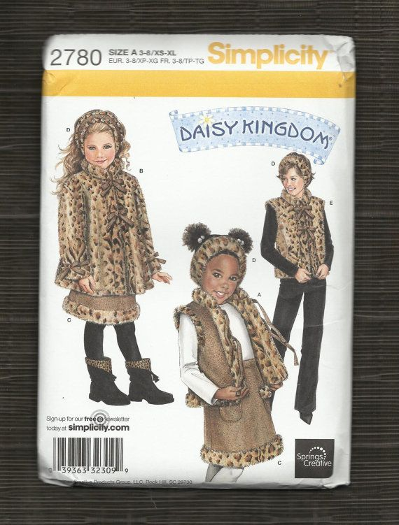 2006 Girls Fur Coat Vest Headband & Skirt Pattern by sydcam123