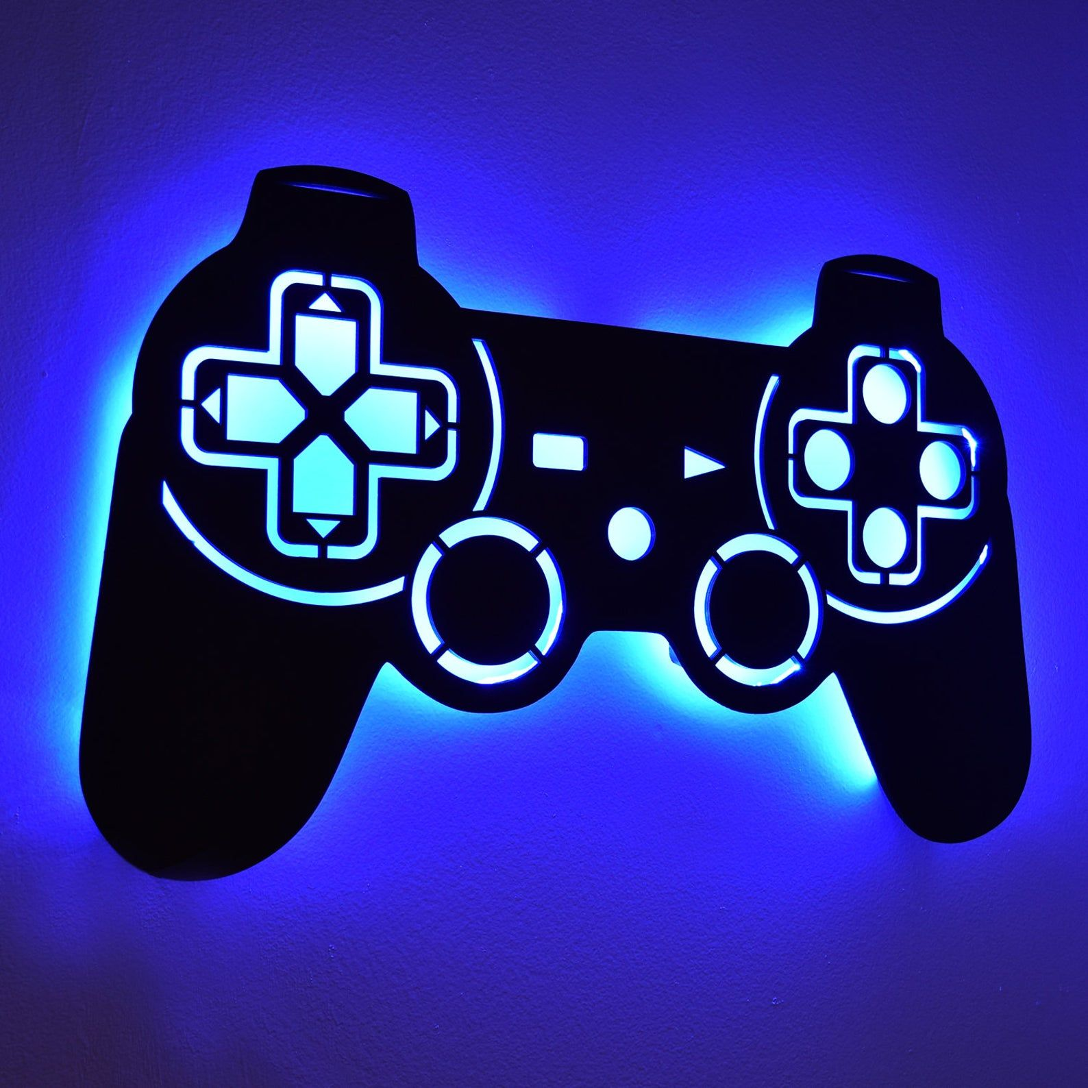 Led Lighted Playstation Controller Wall Art Video Game Art Etsy Game Room Decor Video Game Room Design Game Room