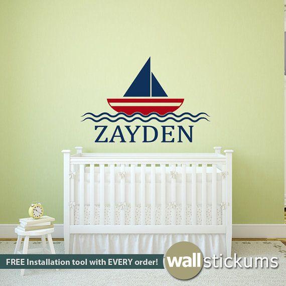 Wall Decal : Kids Sailboat Custom Name Nautical Vinyl Wall Art Decal ...