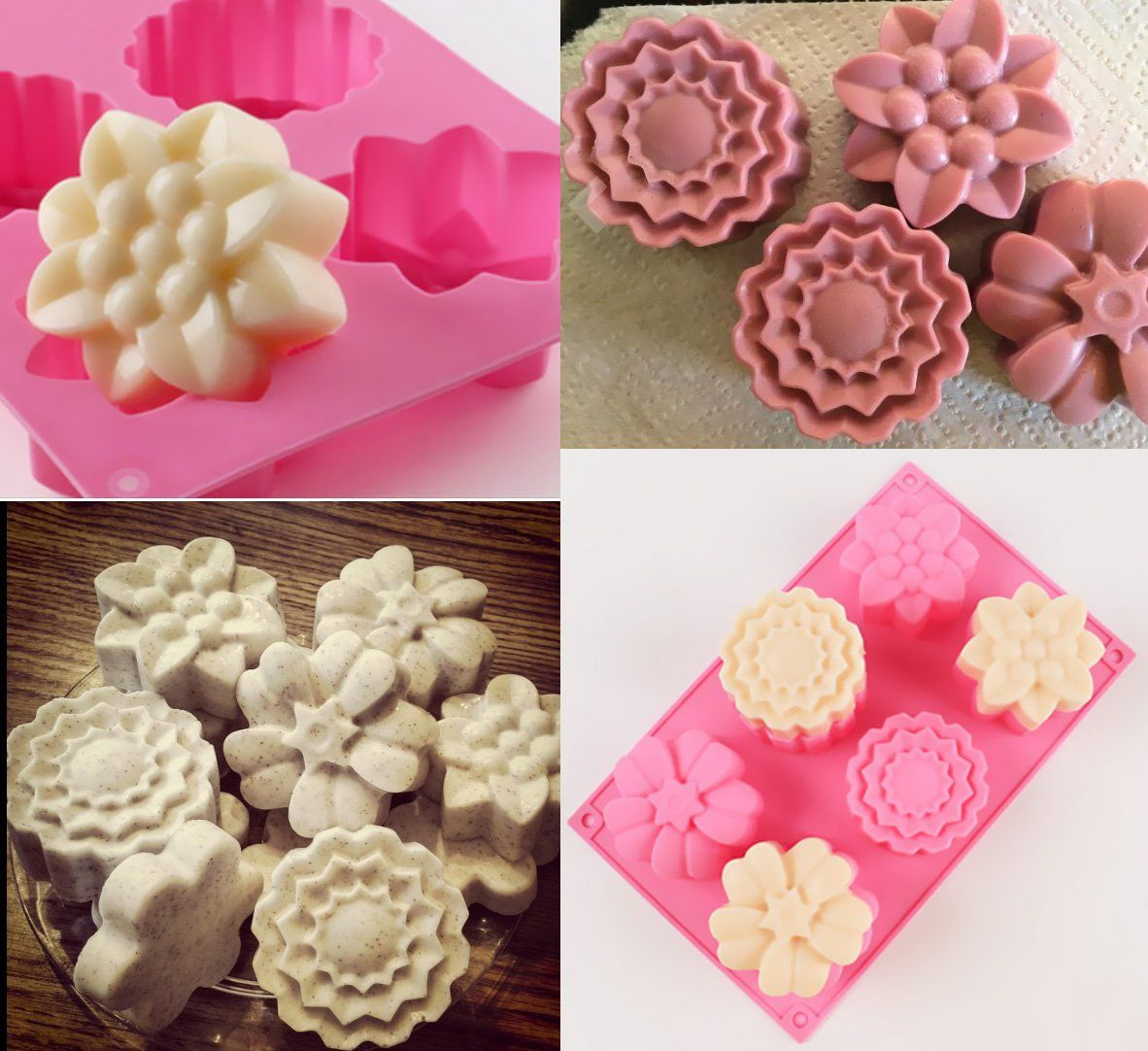 Ouddy 3 Pack 6 Cavity Flower Shape Silicone Soap Making