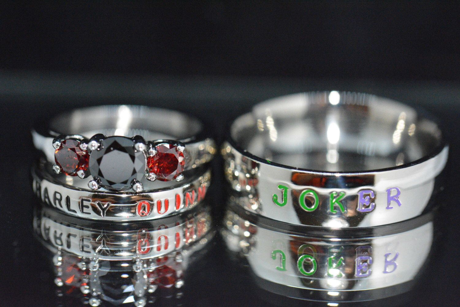 Harley and Joker Rings Black Diamond CZ and Garnet CZ Complete 3