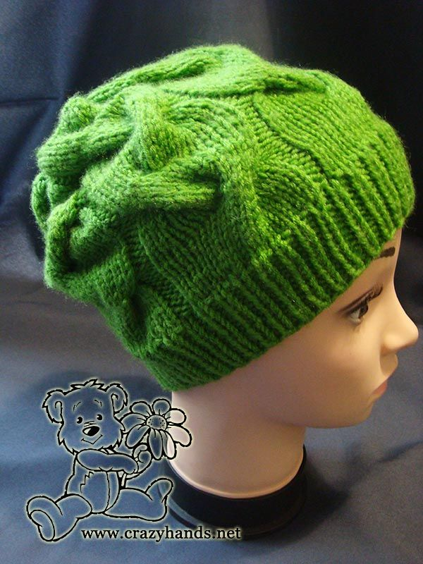 Easy knit hat pattern: finished cable hat - side view on the ...