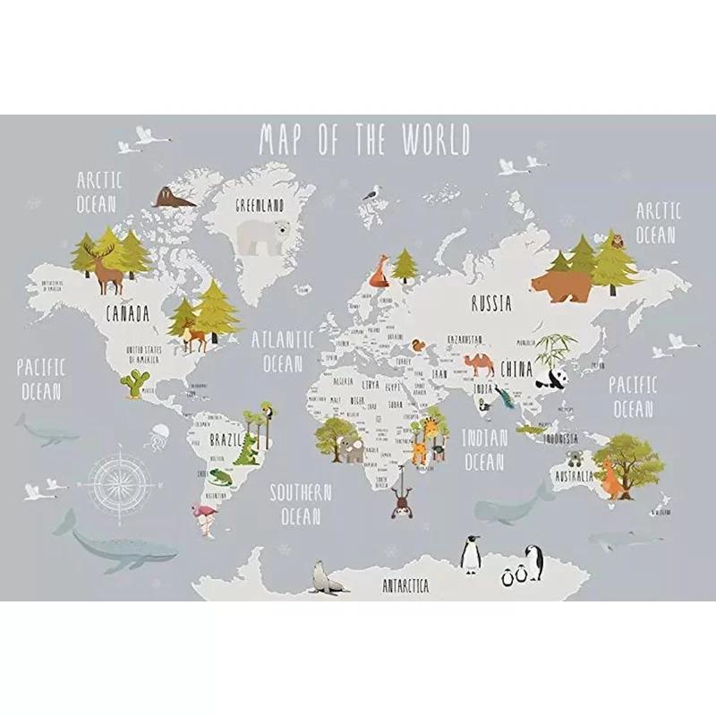 Velda World Map And Animal Kids Textile Texture Wall Mural Kids