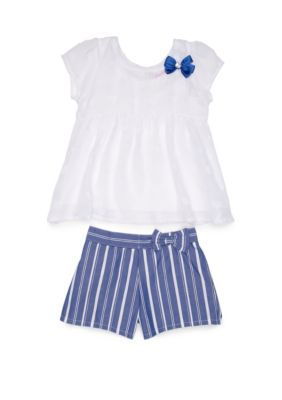 Nannette Girls 4-6x 3D Heart Chiffon Short Set #chiffonshorts