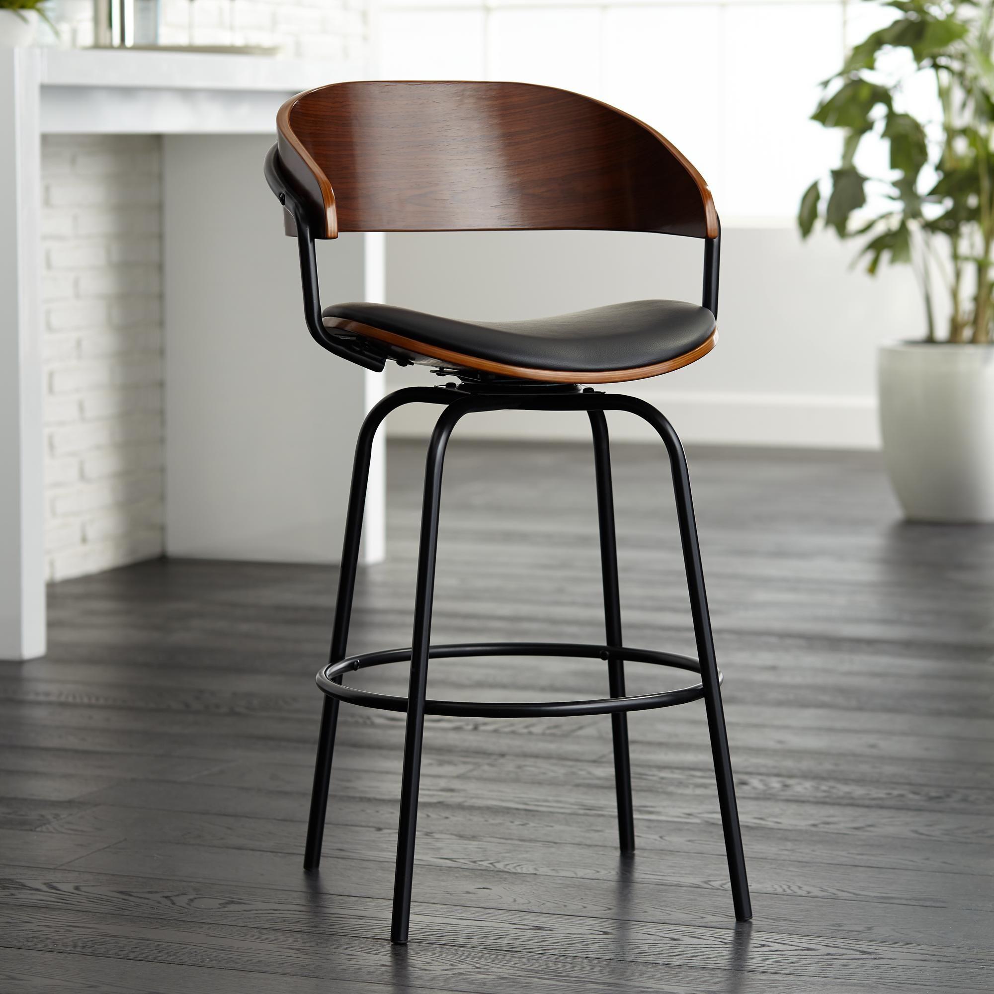 Larsen 26 Inch High Black And Walnut Swivel Counter Stool In 2020