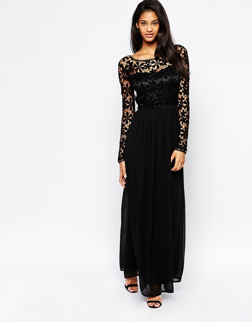 Club L Crochet Maxi Dress with Long Sleeves | Wear With Flair ...