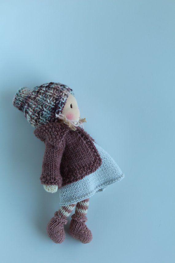 Waldorf doll Waldorf knitted doll 20 cm Linnea | Etsy ...