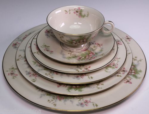 """Theodore Haviland Limoges Apple Blossom Place Setting. 10-3/4"""" Dinner, 8-5/8"""" Luncheon, 7½"""" Salad, 6½"""" B&B, Tea Cup, 5-3/4"""" Saucer. $34.99/6-pc Set ea, 9 sets available at affordablechina on ebay, 2/2/16"""
