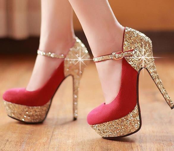 Details about  /Ladies Womens Super High Heel Shoes Platform Bling Wedding Evening Party Pumps