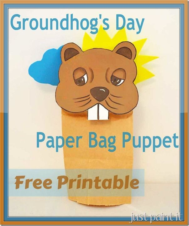 photo about Ground Hog Printable titled Groundhogs Working day paper bag puppet - absolutely free printable or paint it