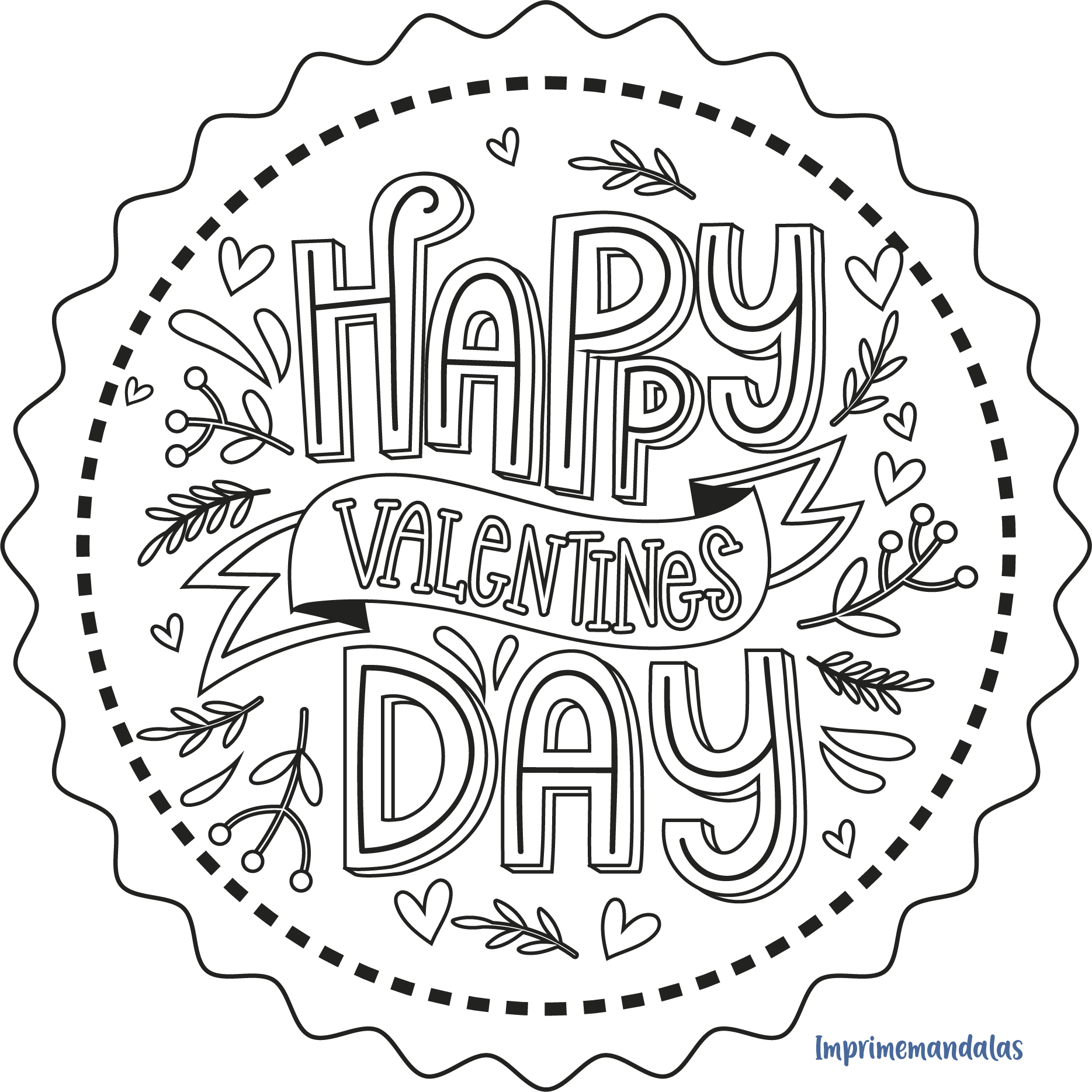 Mandala de Día de San Valentín 04 en 2020 | Día de san valentin, Mandalas,  Mandalas para niños