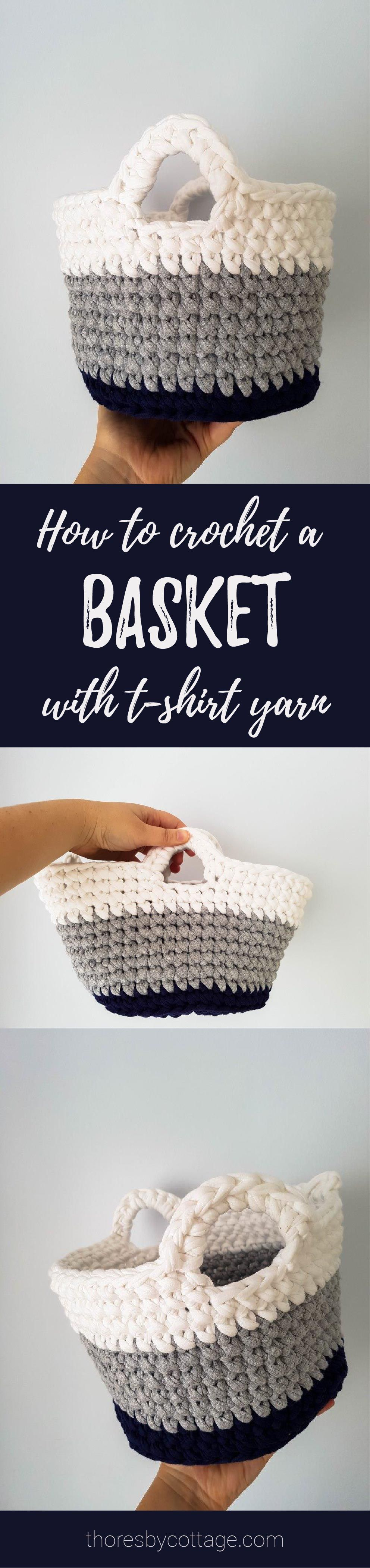 FREE crochet basket pattern using t-shirt yarn. Great for storing ...
