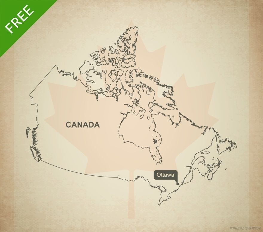 Free Vector Map Of North America.Free Vector Map Of Canada Outline Maps Of North America