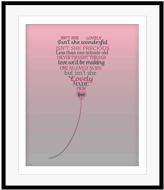 Stevie Wonder Isn T She Lovely Song Lyrics Music Quote Art Print Poster Stevie Wonder Quotes Music Art Print Song Lyrics Art