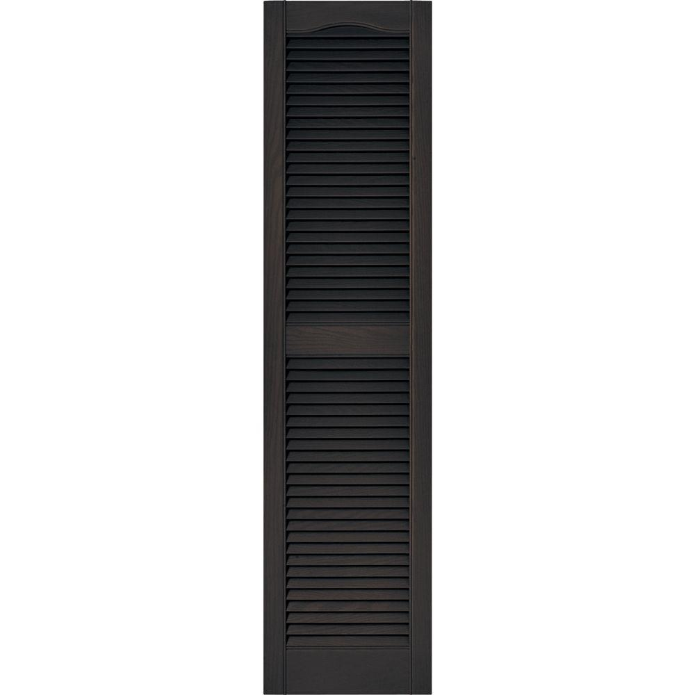 Builders Edge 15 In X 60 In Louvered Vinyl Exterior Shutters Pair In 010 Musket Brown 010140060010 Louvered Shutters Vinyl Shutters Exterior Vinyl Shutters
