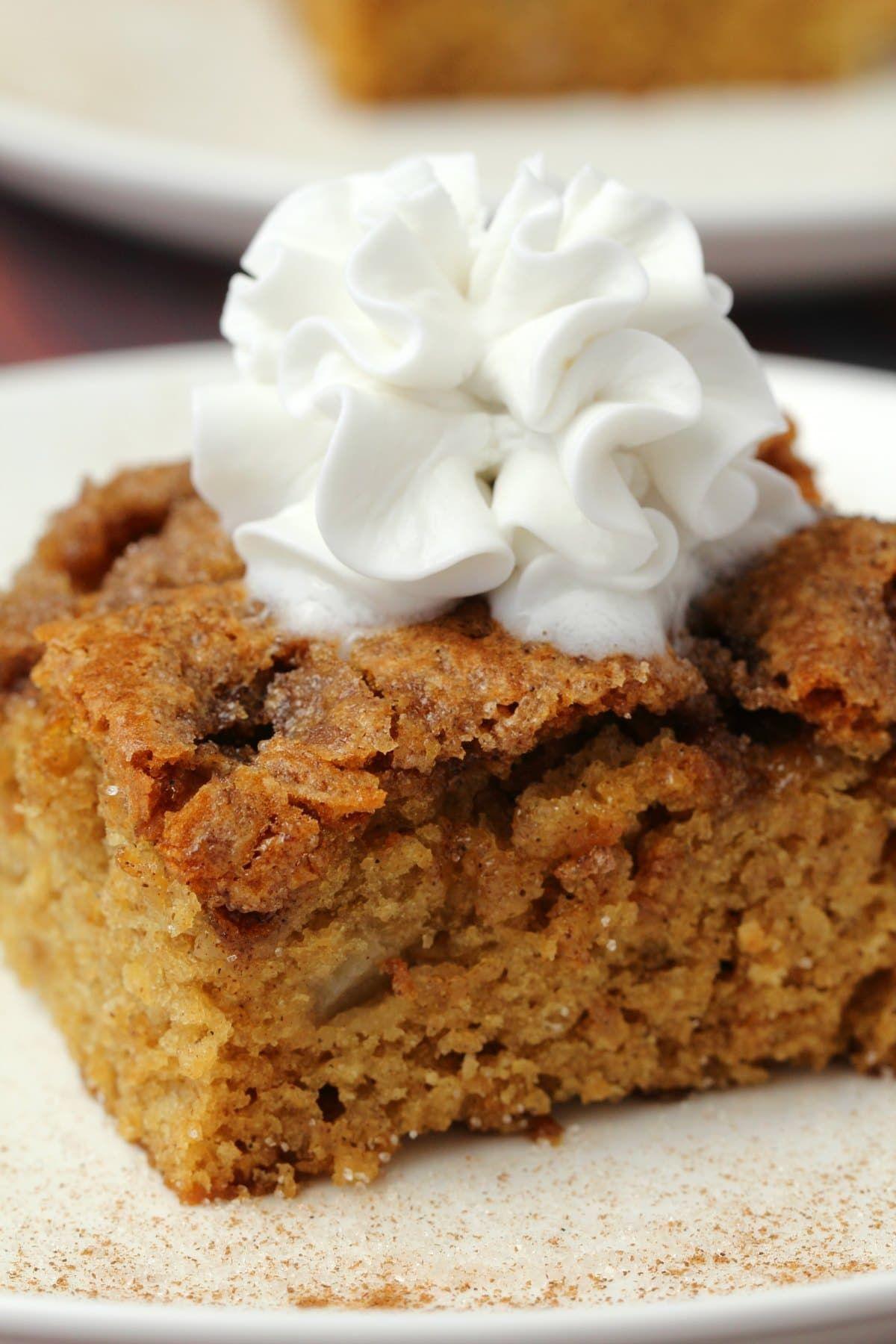 Light and fluffy vegan apple cake with a cinnamon sugar