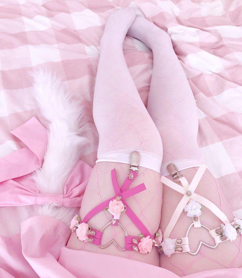 DDLGWorld Rose Petal Thigh Harness / Garter Belts - 3 Colors - DDLG World - kawaii fashion ddlg lingerie lolita