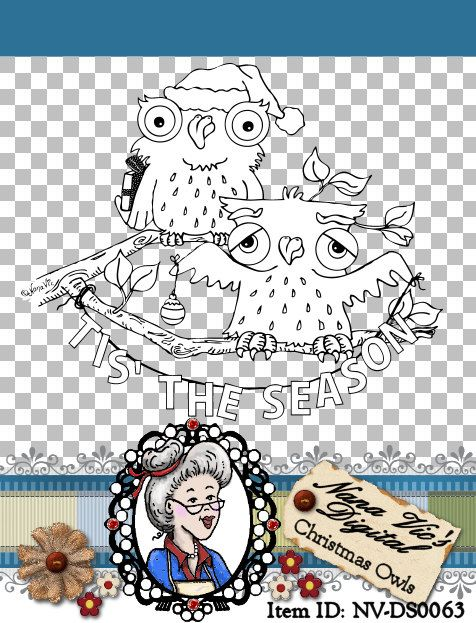 Christmas Owls, Digital Stamp, Digi, Clipart image, Instant Download ID:NV-DS0063 By Nana Vic
