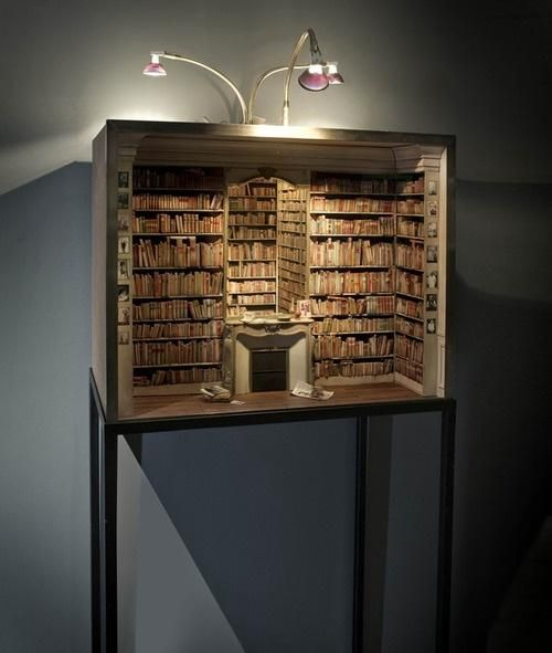 Miniature Bookcase Display - Great especially if you put in complete miniature classic novels
