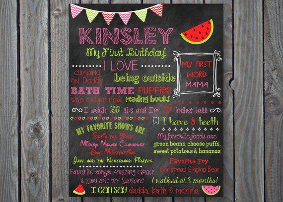 custom printable first birthday poster board sign watermelon
