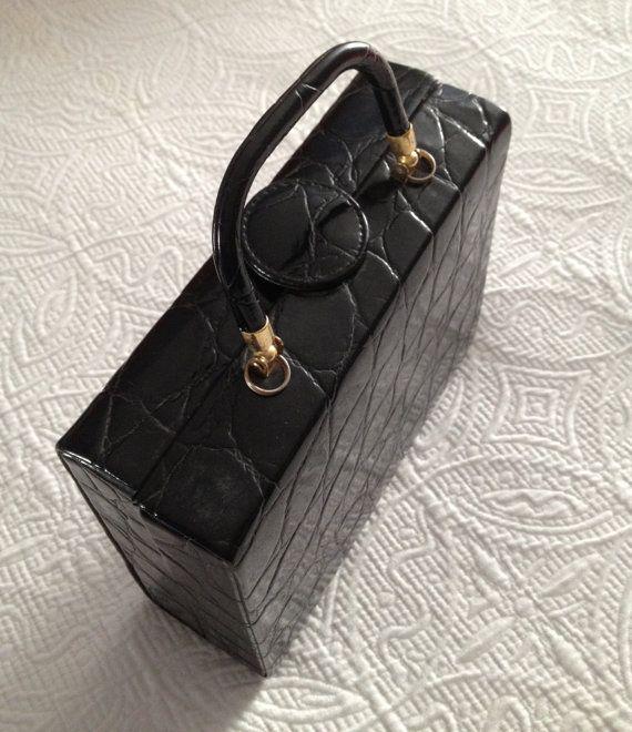 Vintage Moc Croc  Black Handbag/Shoulder Bag by BarbeeVintage, $17.00