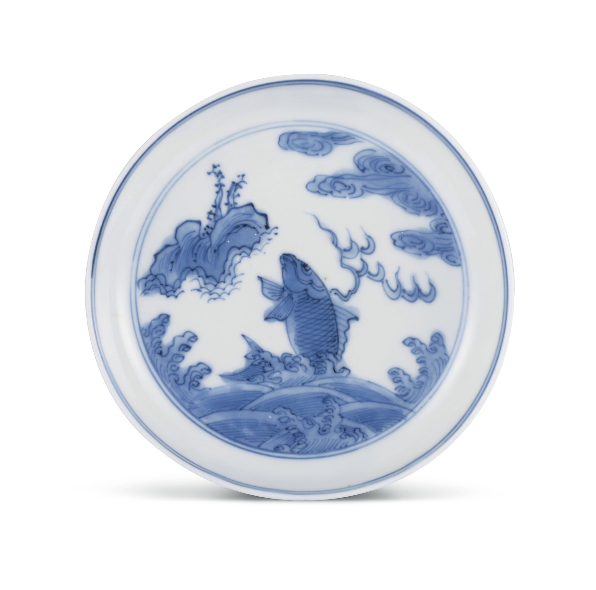 A BLUE AND WHITE 'LEAPING CARP' SAUCER<br>MARK AND PERIOD OF WANLI | Lot | Sotheby's