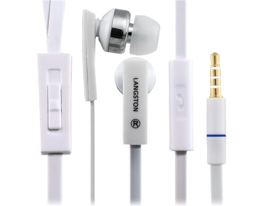 LANGSTON JV 04 3.5 mm In ear Earphones with Microphone and 1.2 m Flat Cable White . You can enjoy your favorite music and hands-free calls with these 3.5 mm plug in-ear earphones. They are compatible with iPhone and other digital devices containing a 3.5 mm audio jack.
