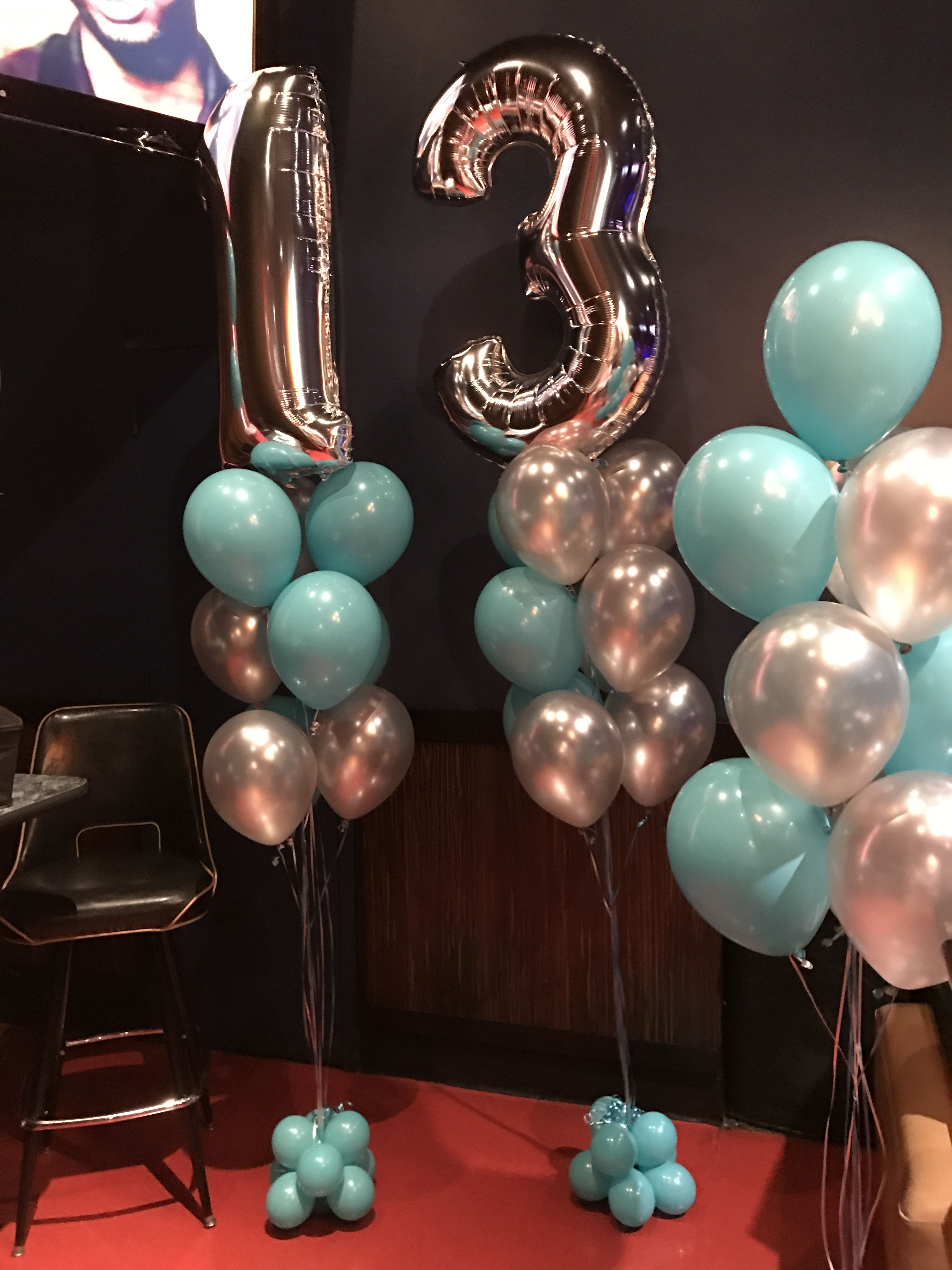 13th Birthday Balloon Trees With Megaloon Number Toppers