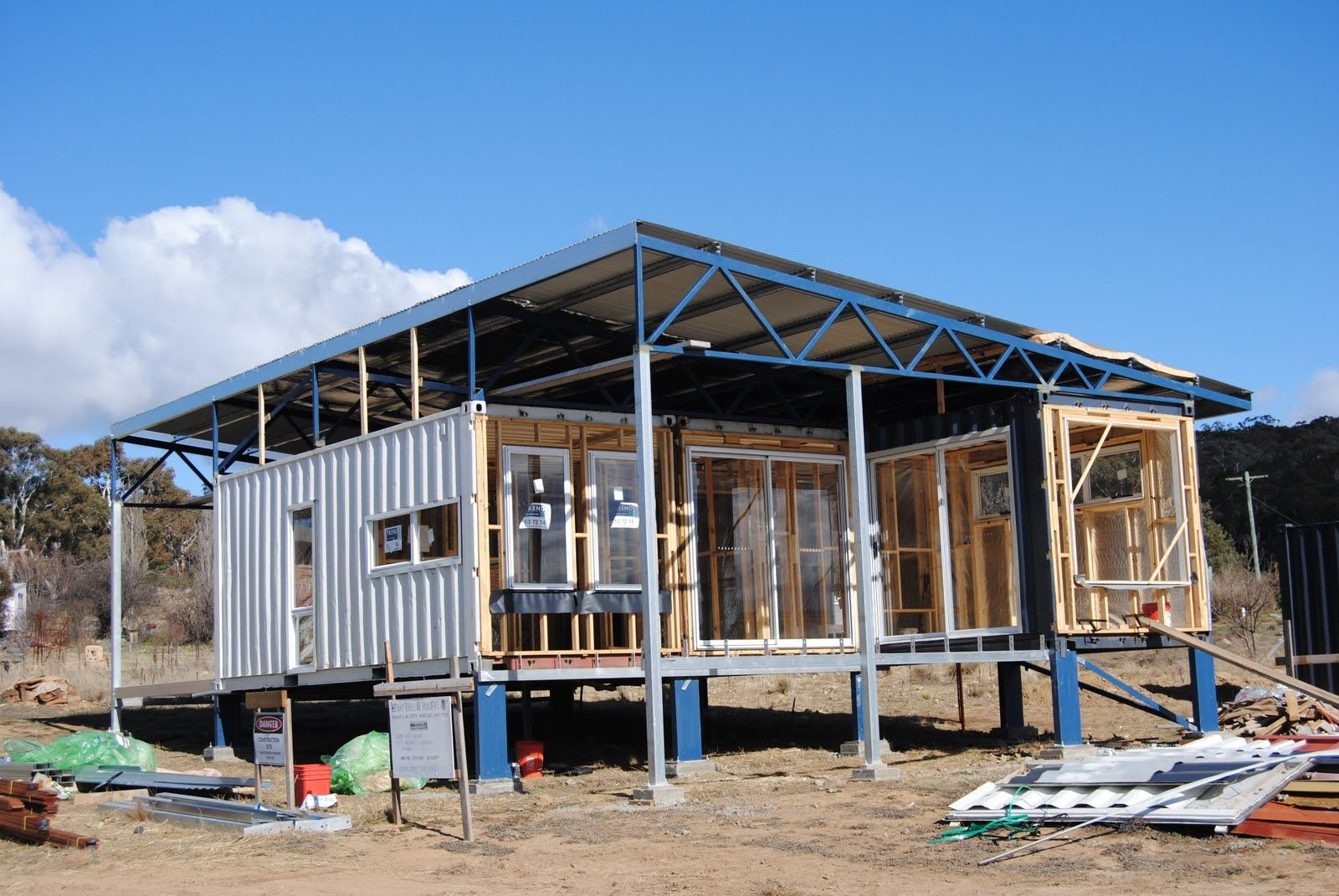 How To Build A Shipping Container House Interesting Start On A Shipping Container House The Back Container