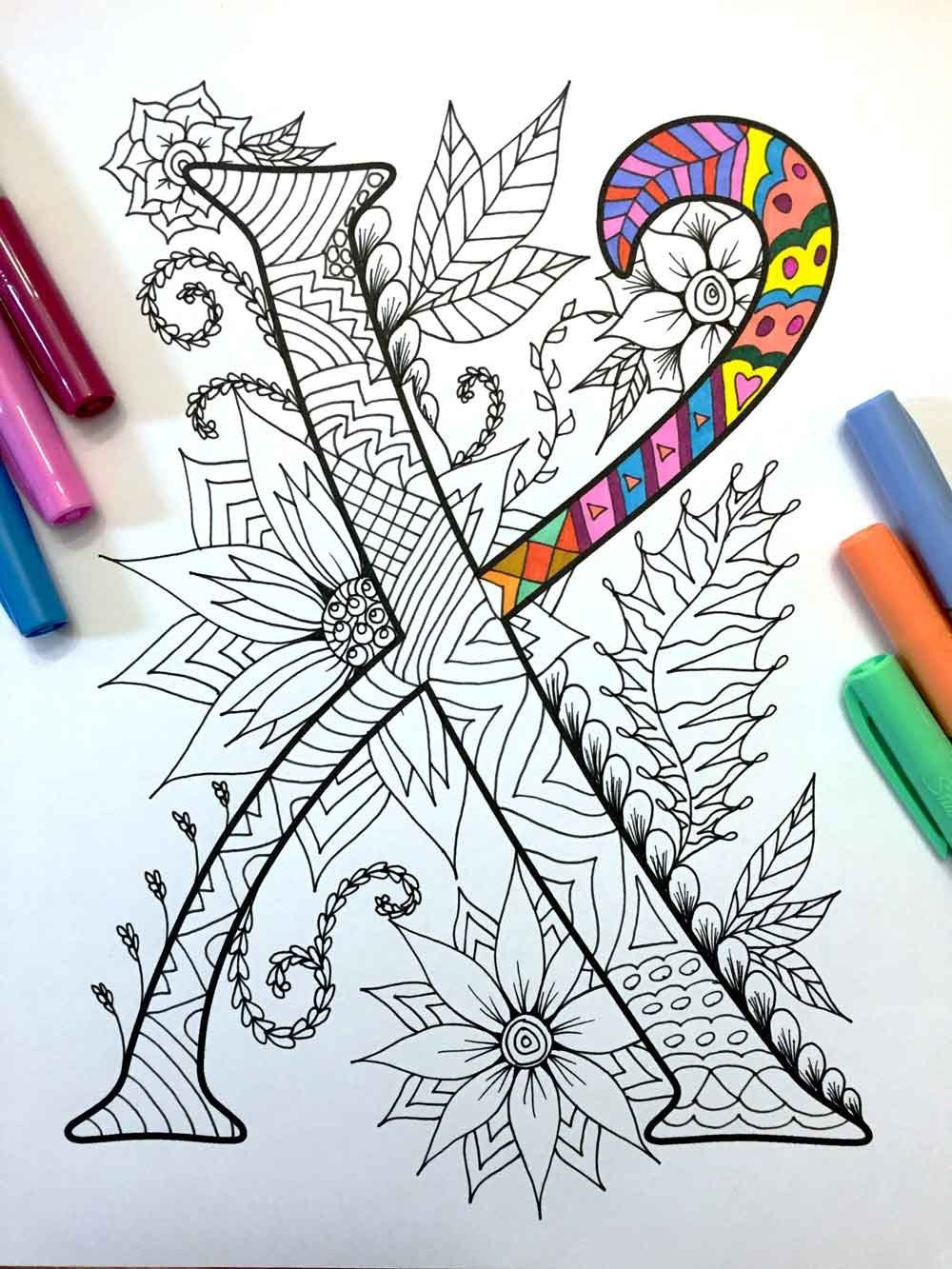 Harrington Font Printable Zentangle Alphabet Number Coloring Pages In 2020 Zentangle Patterns Coloring Pages Alphabet