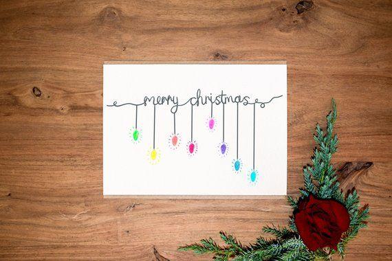Weihnachten-Karte-Pack - von Hand gezogen - Weihnachtskarten - personalisierte Nachricht Karte - Weihnachts-Karten-Set - Weihnachtsbeleuchtung - elegante Weihnachten