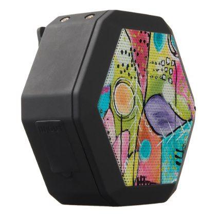 fun unique bluetooth speakers. Abstract Color Block Artistic Colorful Doodles Fun Black Bluetooth Speaker  Pr sent et Unique
