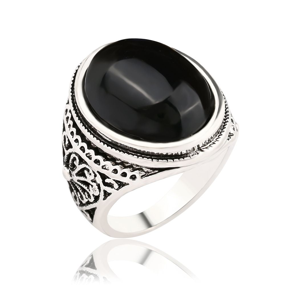 Silver Antique Rings Big Oval Black Red Stone Ring Designs Carved ...
