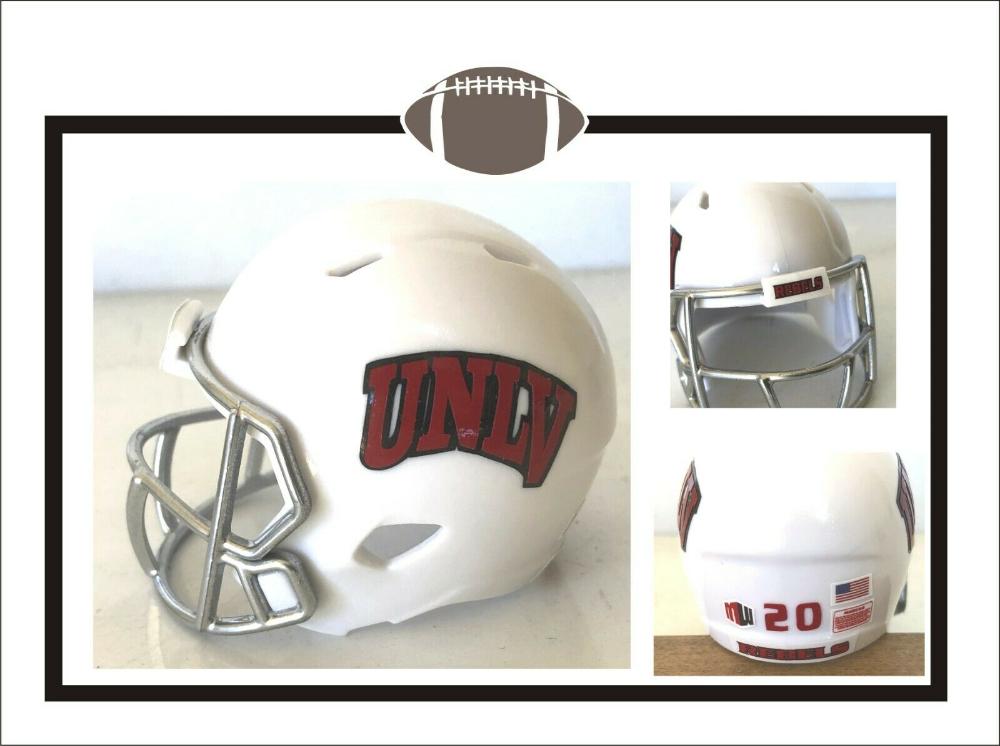 Custom New For 2020 Unlv Rebels White 2 Pocket Pro Football Helmet Ebay Football Helmets Unlv Mini Football Helmet