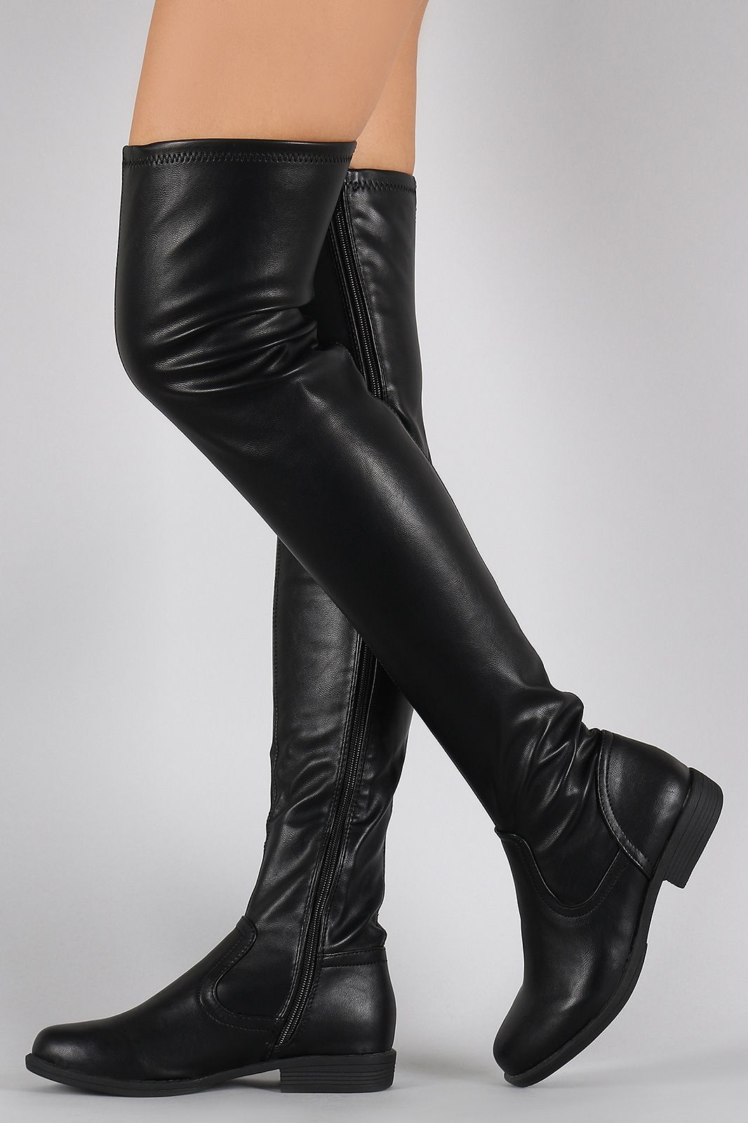 89302c676146 Bamboo Vegan Leather Flat Thigh High Boots