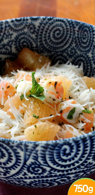 Salade légère au pamplemousse crevettes et vermicelles de riz