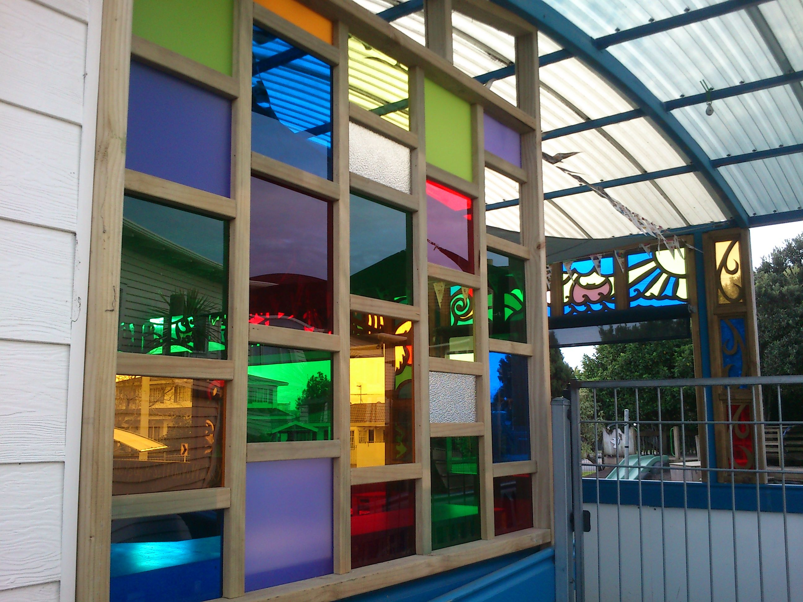 Outside window design ideas  uneven french window made out of coloured perspex  pop  pinterest
