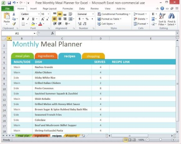 Free Monthly Meal Planner For Excel With Images Monthly Meal