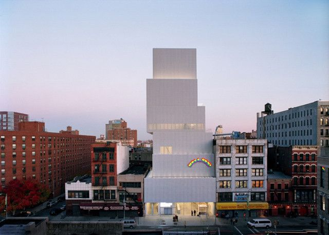 SANAA's New Museum on Bowery in New York - The jaggedness of the tower and the toughness of the aluminum mesh pay homage to the area's chaotic history. At street level, a nearly 15-foot-tall pane of glass stretches the full width of the tower, ushering the street into the museum and vice versa. Other buildings have gone up around Bowery since. None matches the thoughtfulness of the New Museum.