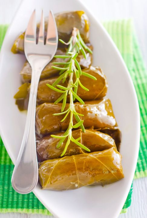 Dolmas (stuffed vegetable) are originally a Middle Eastern dish, but dolmades (stuffed grape leaves) are a common appetizer in any Greek restaurant or deli.