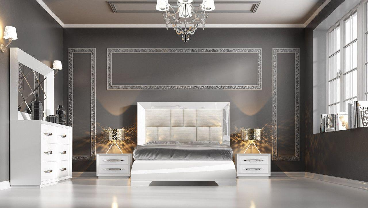 Esf Furniture Carmen White 4 Pcs Queen Bedroom Set For 4306