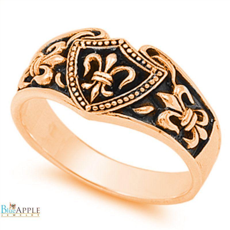 925 Sterling Silver Plain Fleur De Lis Style Ring