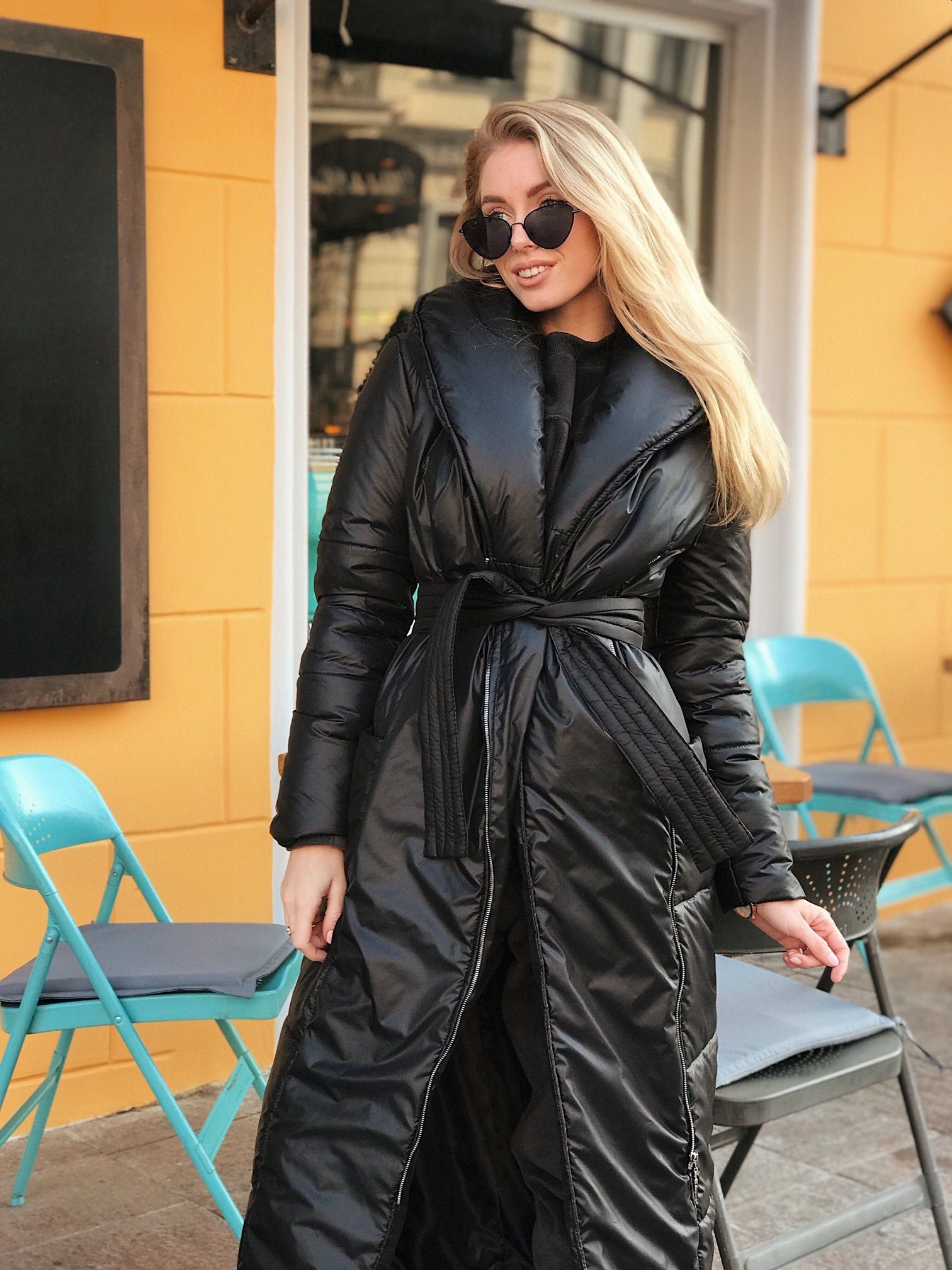 Black Down Coat, Blanket Winter Coat, Puffer Coat,