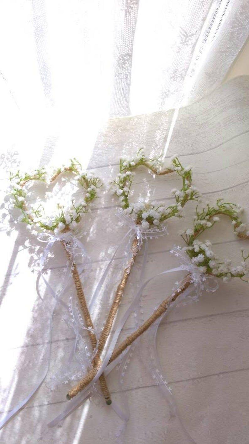 Rustic Heart shape Gypsophila Flower Girl Bridesmaid Wand Country wedding Gypsophila Flower Girl Bridesmaid Crown
