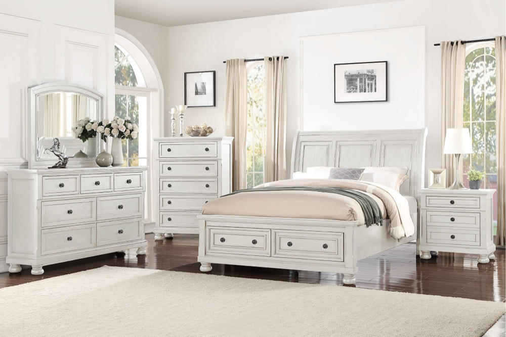 classic traditional white 4 piece king bedroom set