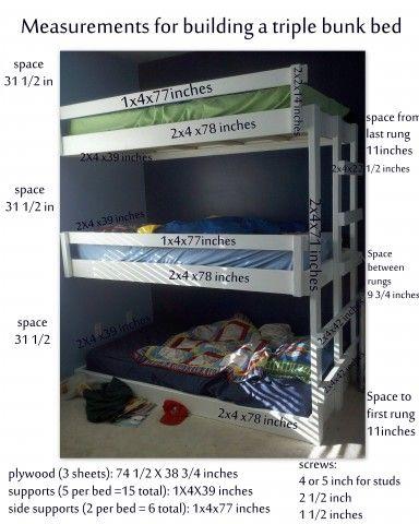 Easy Built in Triple Bunk Bed Measurement and Plans | Kids Bedroom