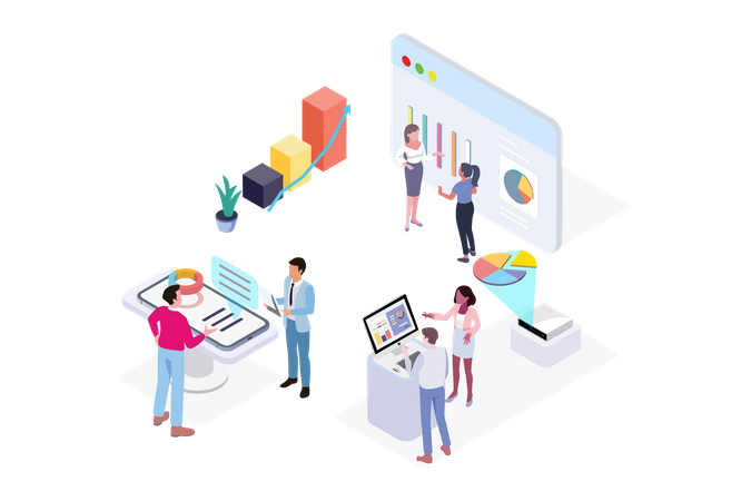 Premium Data Analysis Concept Illustration Download In Png Vector Format Isometric Illustration Isometric Data Analysis